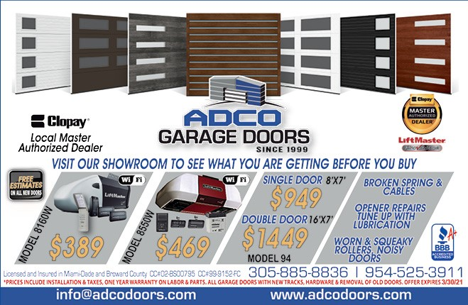 ADCO Garage Doors Promotion Through March 2021